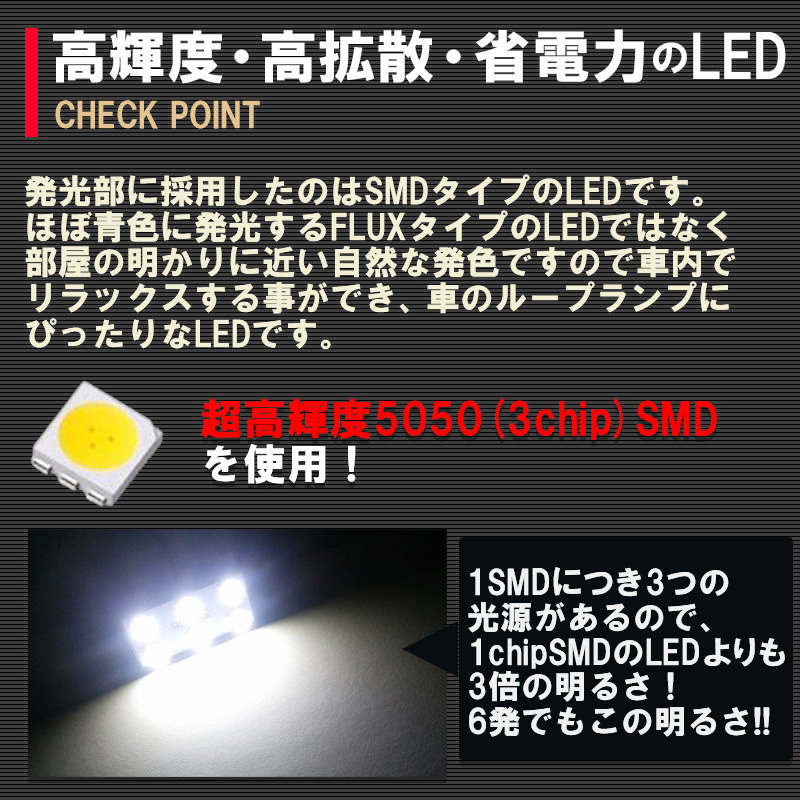 TOYOTA(トヨタ)80系 ヴォクシー/ノア/エスクァイア ZRR80G ZRR85G ZWR80G系 ルームランプ5点とナンバー灯2点付きセット画像7
