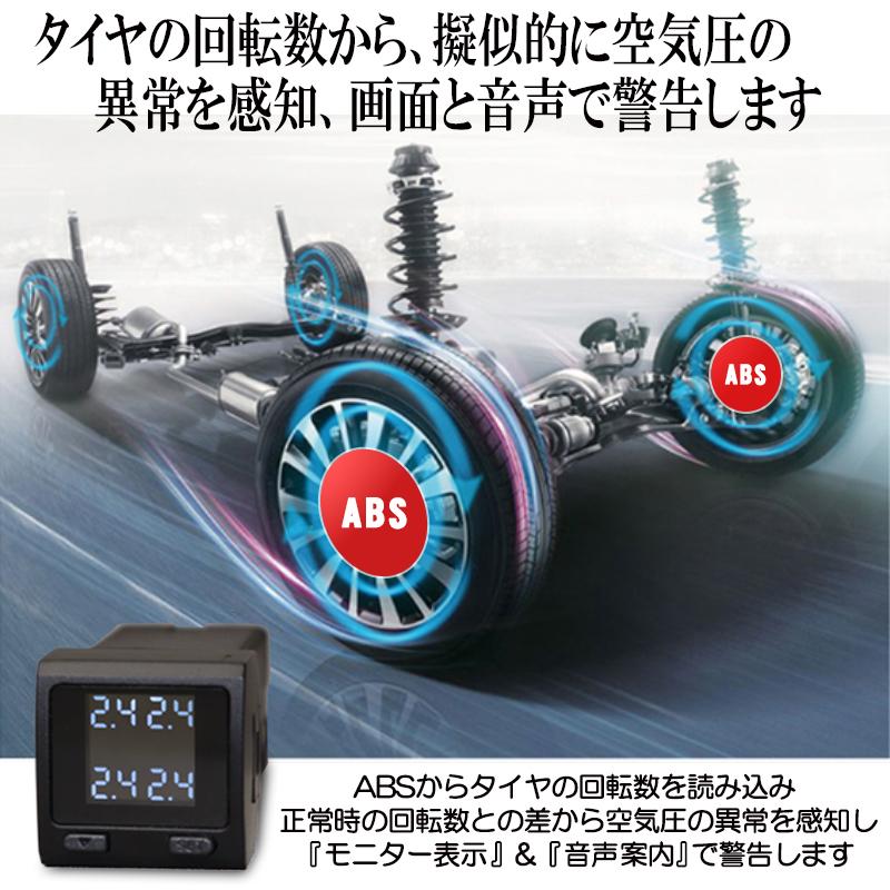 トヨタ新型RAV4対応TPMSタイヤ空気圧監視警報システム_ABSから回転数を取得